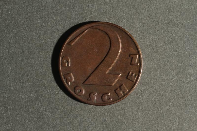 1988.106.1.7 back Austria currency, 2 groschen coin