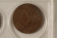 1988.106.1.6 front United Kingdom currency, 1 penny coin  Click to enlarge
