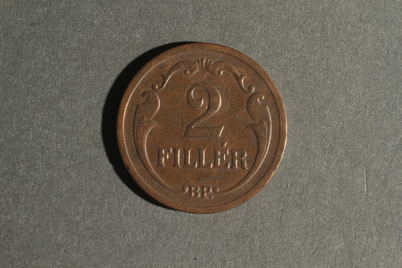 1988.106.1.8 back Hungary currency, 2 fillér coin