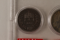 1988.106.1.18 front Hungary currency, 2 fillér coin  Click to enlarge