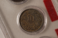 1988.106.1.19 back Luxembourg currency, 10 centimes coin  Click to enlarge