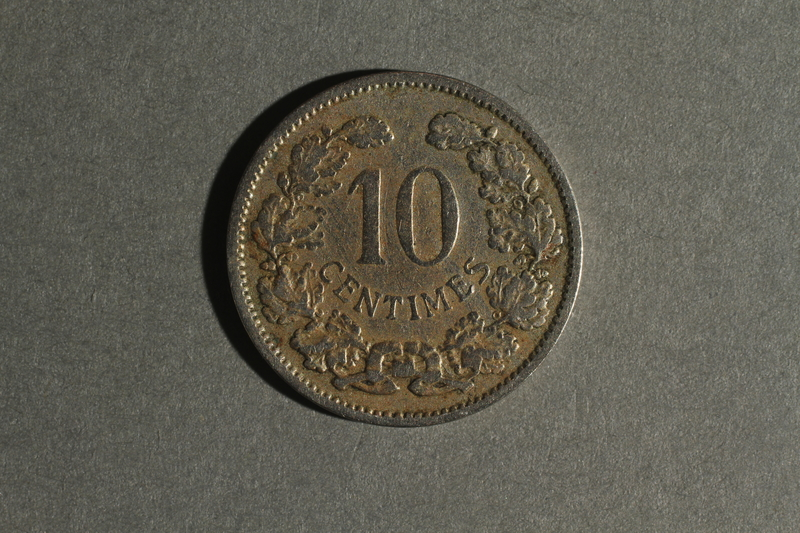 1988.106.1.19 back Luxembourg currency, 10 centimes coin