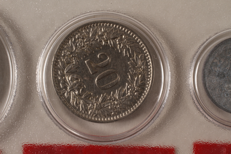 1988.106.1.21 back Switzerland currency, 20 rappen coin
