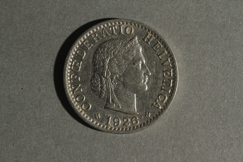 1988.106.1.21 front Switzerland currency, 20 rappen coin