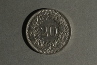 1988.106.1.21 back Switzerland currency, 20 rappen coin  Click to enlarge