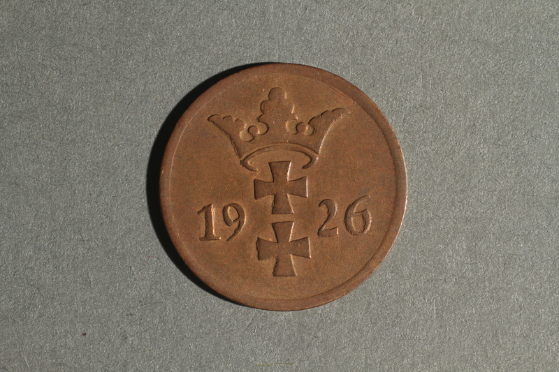 1988.106.1.23 front Danzig currency, 2 pfennig coin