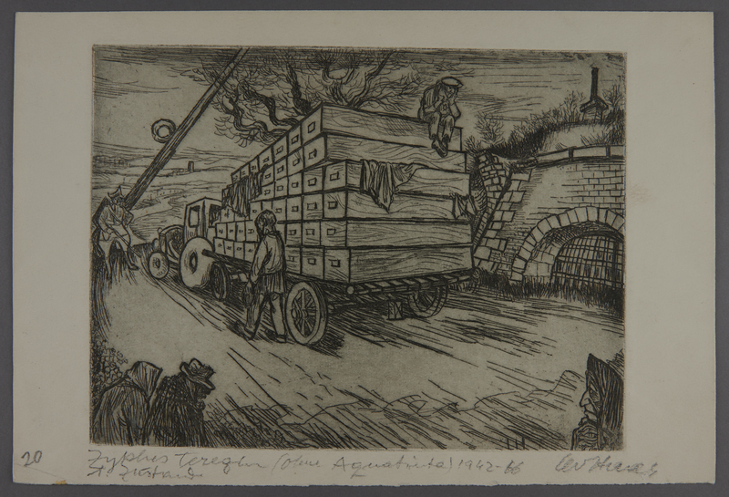 2003.202.2 front Leo Haas aquatint of a truck piled with coffins leaving Terezin