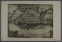 Leo Haas aquatint of a truck piled with coffins leaving Terezin