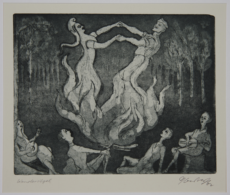 1988.12.5 front Plate 5, Herbert Sandberg, Der Weg: people watching spirits dancing within a campfire
