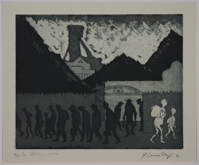 1988.12.6 front Plate 6, Herbert Sandberg, Der Weg: 2 people passing silhouetted workers leaving a factory