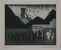 1988.12.6 front Plate 6, Herbert Sandberg, Der Weg: 2 people passing silhouetted workers leaving a factory  Click to enlarge