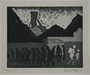 Plate 6, Herbert Sandberg, Der Weg: 2 people passing silhouetted workers leaving a factory