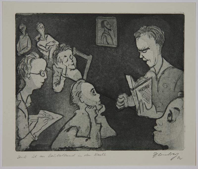 1988.12.7 front Plate 7, Herbert Sandberg, Der Weg: man reciting Heine to young boys