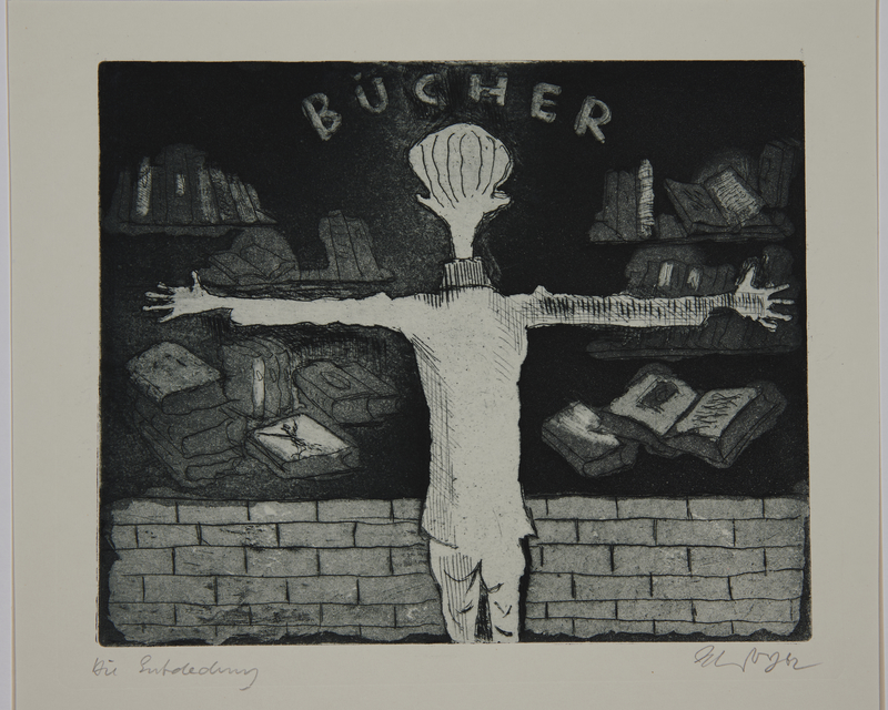 1988.12.8 front Plate 8, Herbert Sandberg, Der Weg: youth looks with longing at a bookstore window