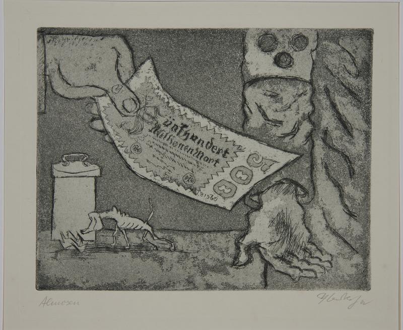 1988.12.11 front Plate 11, Herbert Sandberg, Der Weg: hand giving 500 million mark note to a beggar