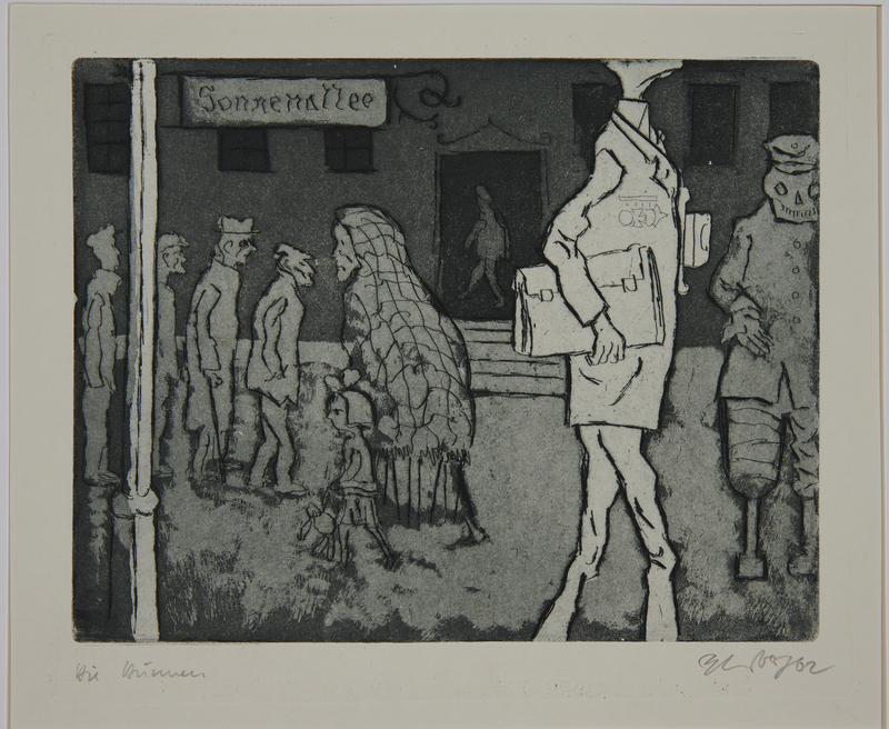 1988.12.12 front Plate 12, Herbert Sandberg, Der Weg: street scene with starving veterans and working class people