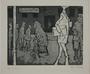 Plate 12, Herbert Sandberg, Der Weg: street scene with starving veterans and working class people