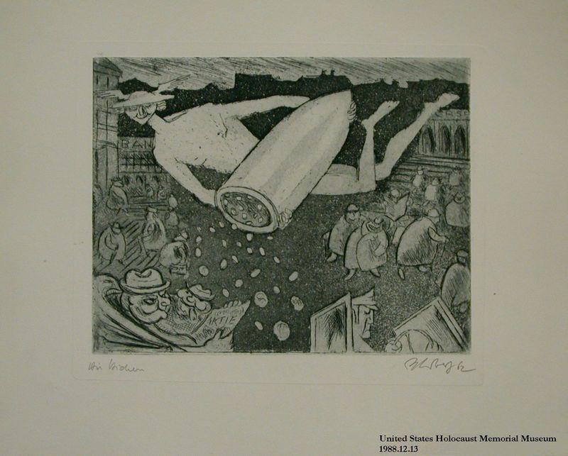1988.12.13 front Plate 13, Herbert Sandberg series, Der Weg: Mercury tossing money from a gun shell on fat businessmen