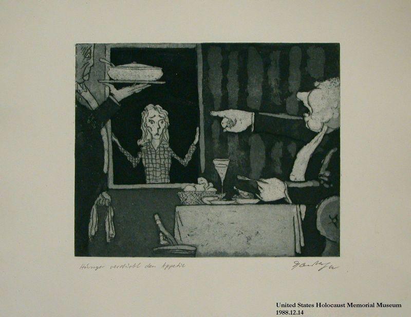 1988.12.14 front Plate 14, Herbert Sandberg series, Der Weg: a piglike man yells at a hungry girl for ruining his dinner