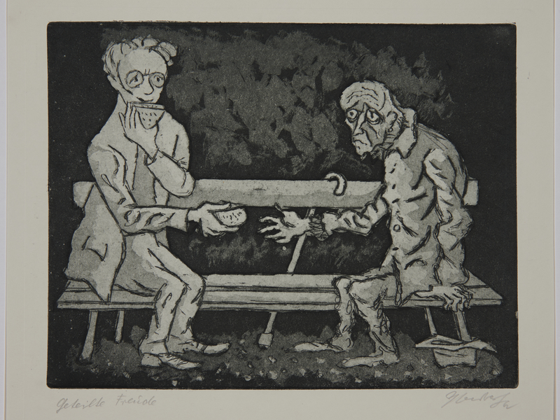 1988.12.15 front Plate 15, Herbert Sandberg series, Der Weg: portrait of the artist when young sharing his bread with a starving man