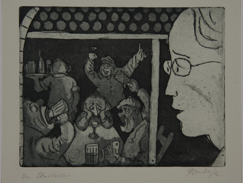 1988.12.16 front Plate 16, Herbert Sandberg series, Der Weg: young man looks with dismay at men drinking in a bar