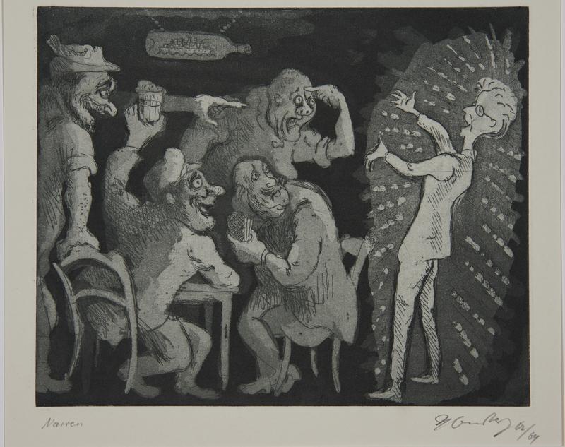 1988.12.17 front Plate 17, Herbert Sandberg series, Der Weg: young man makes a fool of himself in a bar