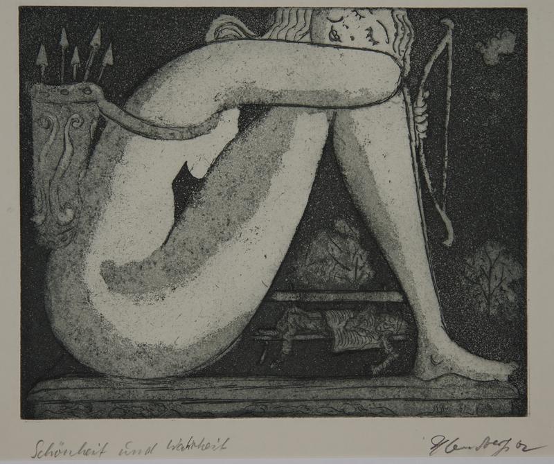 1988.12.18 front Plate 18, Herbert Sandberg series, Der Weg: sleeping nude goddess and a homeless man