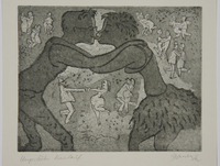 1988.12.20 front Plate 20, Herbert Sandberg series, Der Weg: young man and woman kissing  Click to enlarge