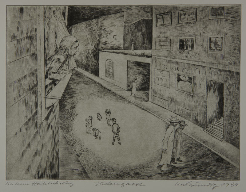 1987.92.1 front Drypoint etching by Lea Grundig of a woman watching children play