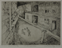 Drypoint etching by Lea Grundig of a woman watching children play