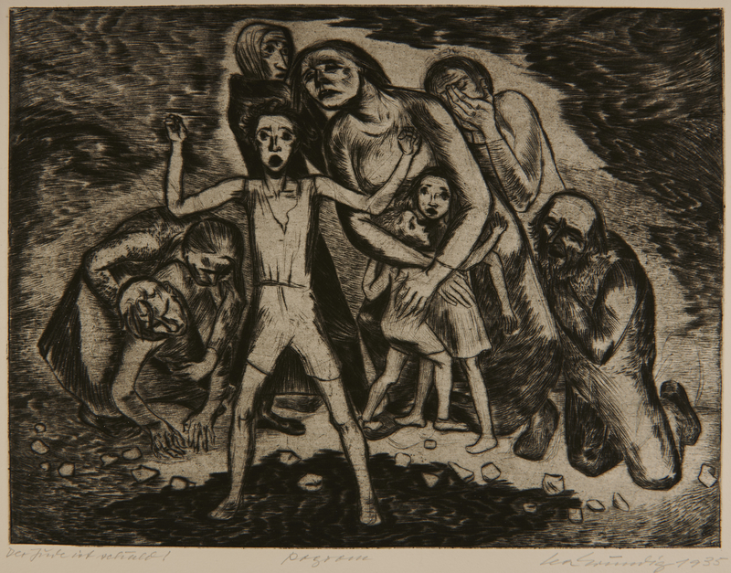 1987.92.2 front Drypoint etching by Lea Grundig of a Jewish family under attack