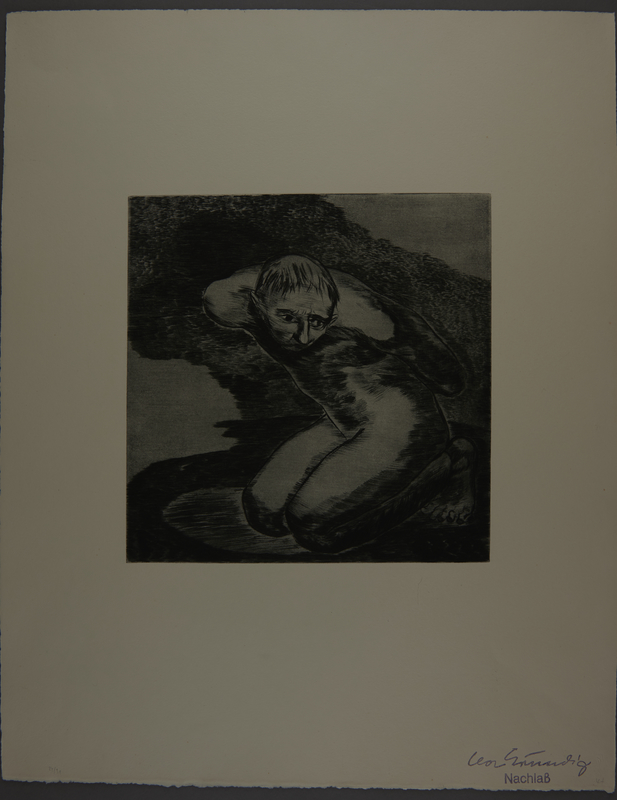 1987.92.3 front Drypoint etching by Lea Grundig of a bound naked prisoner on his knees