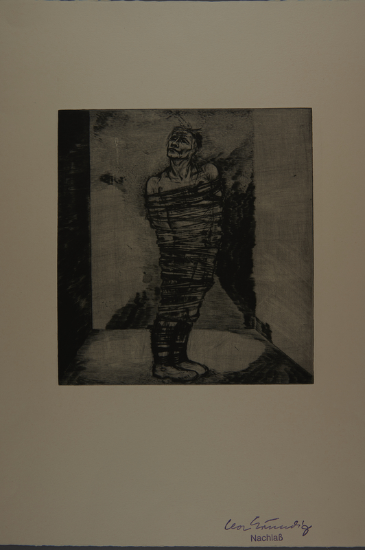 1987.92.4 front Drypoint etching by Lea Grundig of a man wrapped in rope up to his neck