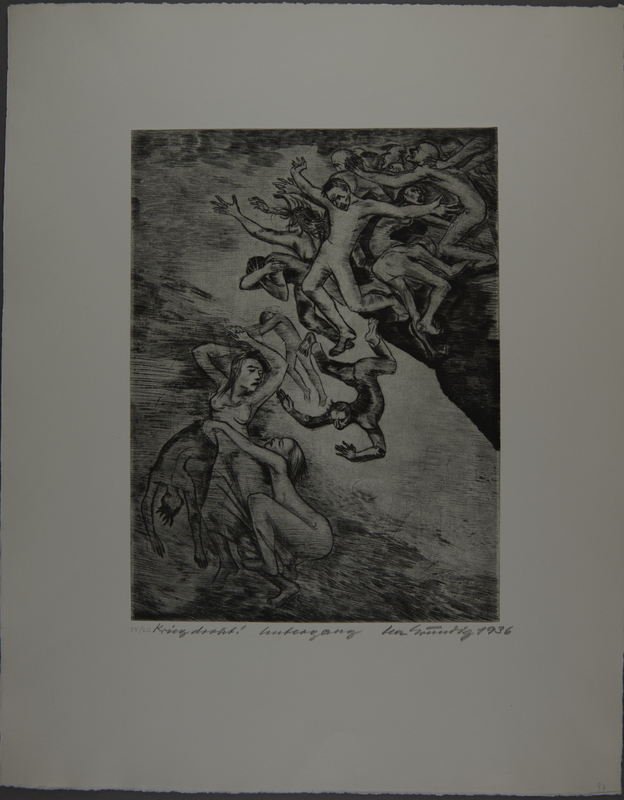 1987.92.5 front Drypoint etching by Lea Grundig of a people being pushed off a cliff