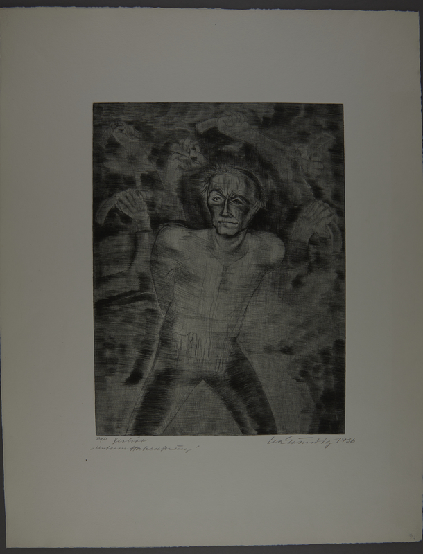 1987.92.6 front Drypoint etching by Lea Grundig of a man threatened by the hands of unseen people