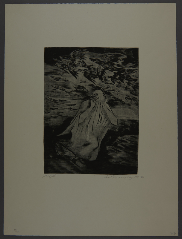 1987.92.7 front Drypoint etching by Lea Grundig of a white draped figure running during an aerial attack