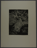 1987.92.7 front Drypoint etching by Lea Grundig of a white draped figure running during an aerial attack  Click to enlarge
