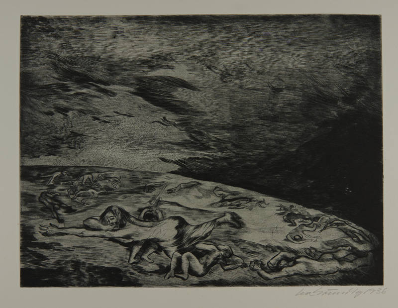 1987.92.8 front Drypoint etching by Lea Grundig of lifeless figures spread over the earth