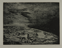1987.92.8 front Drypoint etching by Lea Grundig of lifeless figures spread over the earth  Click to enlarge