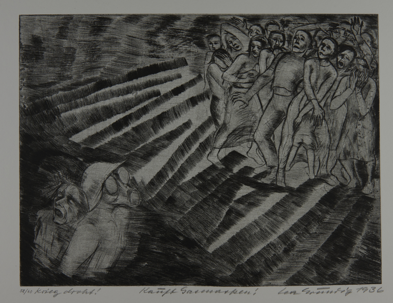 1987.92.9 front Drypoint etching by Lea Grundig of people caught in a gas attack
