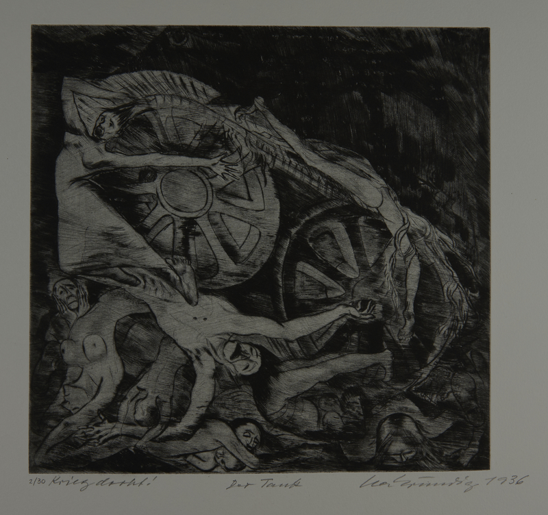 1987.92.10 front Drypoint etching by Lea Grundig of dead bodies wrapped around tank tread