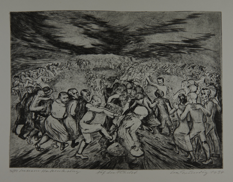 1987.92.11 front Drypoint etching by Lea Grundig of people trapped and running in circles