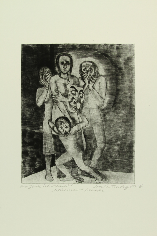 1987.92.12 front Drypoint etching by Lea Grundig of a group of people hiding their faces