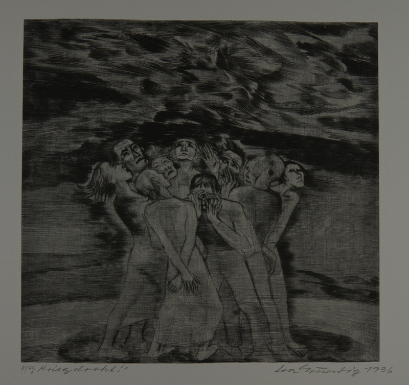 1987.92.13 front Drypoint etching by Lea Grundig of a frightened crowd watching storm clouds