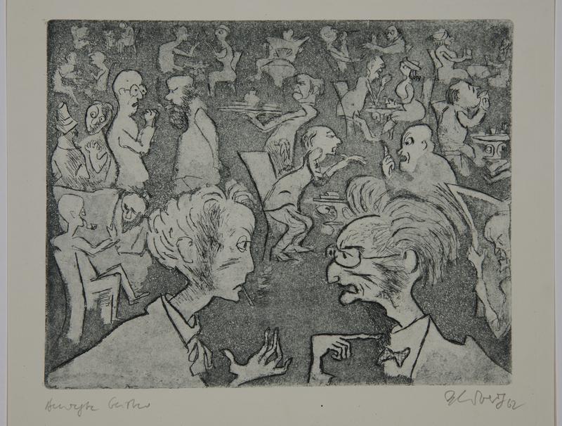 1988.12.21 front Plate 21, Herbert Sandberg series, Der Weg: cafe crowded with arguing artists