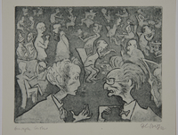 1988.12.21 front Plate 21, Herbert Sandberg series, Der Weg: cafe crowded with arguing artists  Click to enlarge