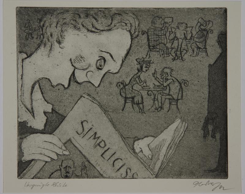 1988.12.22 front Plate 22, Herbert Sandberg series, Der Weg: young man enjoying a humor magazine