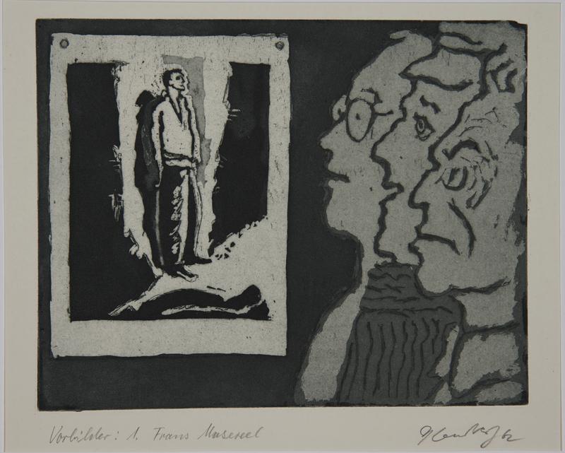 1988.12.23 front Plate 23, Herbert Sandberg series, Der Weg: artist as a young man with friends studying a woodcut