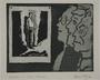 Plate 23, Herbert Sandberg series, Der Weg: artist as a young man with friends studying a woodcut