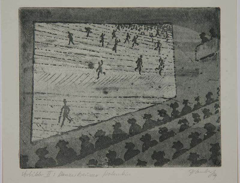 1988.12.24 front Plate 24, Herbert Sandberg series, Der Weg: people watching an Eisenstein film